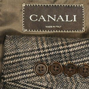 40R Canali Brown Label Brown Plaid Tweedy coat